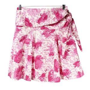 Anthro Tabitha Pink Floral Tie Waist A-Line Skirt